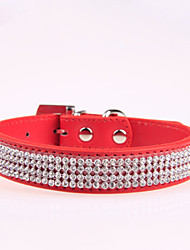 cheap -Dog Collar Adjustable / Retractable Rhinestone PU Leather Black Rose Red Blue Pink