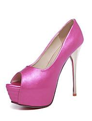 Feminino Para Meninas Sapatos Courino Primavera Verão Outono Salto Agulha Com Para Casamento Social Branco Preto Fúcsia Azul Rosa claro