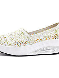 Women's Loafers & Slip-Ons Spring Summer Fall Winter PU Casual Wedge Heel White Black Walking