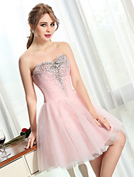 cheap -Ball Gown Sweetheart Short / Mini Tulle Cocktail Party Prom Dress with Beading Crystal Detailing Sequins by QZ