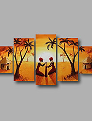 """cheap -Stretched (ready to hang) Hand-Painted Oil Painting 60""""x32"""" Canvas Wall Art Modern Abstract African Scenery"""