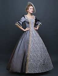 Rococo Victorian Costume Female Party Costume Masquerade Silver Vintage Cosplay Lace Silk Organza Linen Satin Bell