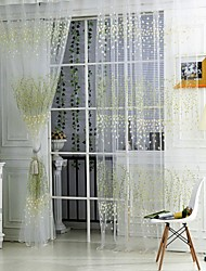 Rod Pocket One Panel Curtain Country , Print Living Room Polyester Material Sheer Curtains Shades Home Decoration