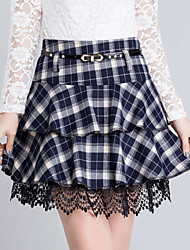 cheap -Women's Casual Plus Size A Line Skirts - Plaid, Lace Layered