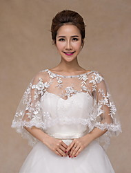 cheap -Sleeveless Lace Tulle Wedding Party Evening Wedding  Wraps With Rhinestone Embroidery Lace Ponchos