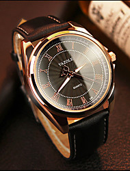 cheap -YAZOLE Men's Wrist watch Quartz Hot Sale Leather Band Casual Black Brown