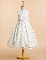 cheap -A-Line Tea Length Flower Girl Dress - Lace Sleeveless Scoop Neck with Bow(s) / Lace / Flower by LAN TING BRIDE®