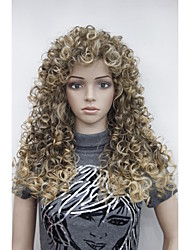 "cheap -Sexy Brown mix Golden Blonde Highlight Tip Curly 22"" Long Synthetic Hair Full Women's Daily Wig"