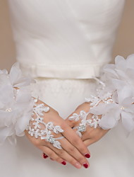 Wrist Length Fingerless Glove Lace Bridal Gloves Party/ Evening Gloves Floral Embroidery Rhinestone
