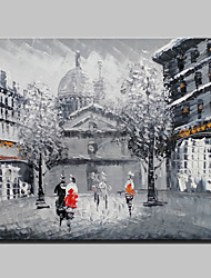 cheap -Mini Size Hand-Painted Paris City Landscape Modern Oil Painting On Canvas One Panel Ready To Hang