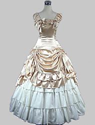 billiga -Söt Lolita Klassisk / Traditionell Lolita Victoriansk Medeltida kostymer Satin Dam Flickor Klänningar Balklänning Cosplay Champagne / Brun Ärmlös Golvlång Kostymer