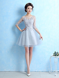 cheap -Ball Gown Jewel Neck Short / Mini Lace Lace Up Cocktail Party Dress with Lace / Sash / Ribbon by LAN TING Express