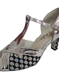 Women's Latin Sparkling Glitter PU Sandals Indoor Customized Heel Black Silver