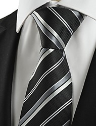New Striped Grey Black Classic Formal Men's Tie Necktie Wedding Party Gift #1036