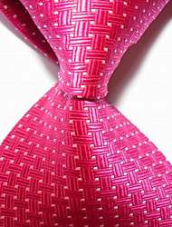 Men's Fashion Hot Pink Crossed JACQUARD WOVEN Necktie Necktie