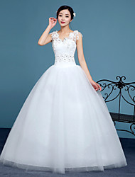cheap -A-Line V-neck Floor Length Lace Tulle Wedding Dress with Crystal Detailing Lace by QQC Bridal