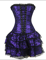 cheap -Shaperdiva Women's Moulin Rouge Gothic Boned Bustier Corset Top + Corset Dress