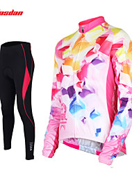 cheap -TASDAN Women's Long Sleeve Cycling Jersey with Tights - Blue / Pink Bike Pants / Trousers / Jersey / Tights, 3D Pad, Quick Dry, Breathable / Stretchy / Reflective Strips / Sweat-wicking