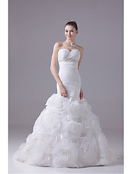 cheap -Mermaid / Trumpet Sweetheart Court Train Organza Wedding Dress with Beading LAN TING BRIDE®