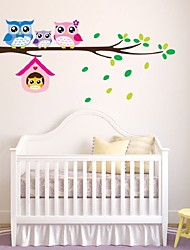 cheap -Diy Removable Owl Birds Branch Vinyl Kids Home Decor Mural Wall Stickers Decal Branches Four Owl Wall Stickers