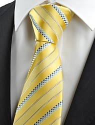 Tulip Yellow Golden Blue Dotted Striped Men's Tie Wedding Party Prom Gift KT0017