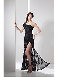 cheap -Sheath / Column One Shoulder Floor Length Lace Taffeta Formal Evening Dress with Lace Split Front by XFLS
