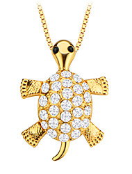 Cute Turtle Animal Crystal Jewelry Pendant 18K Gold Plated Men/Women Gift P30138