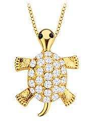 plaqué mignon pendentif en cristal bijoux en or 18 carats tortue animal hommes / femmes cadeau p30138