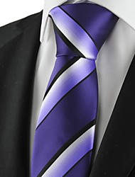 cheap -Striped White Purple Black Mens Tie Necktie Formal Wedding Holiday Gift KT1027