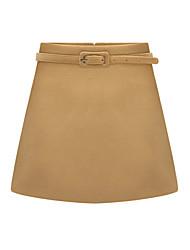 Femme simple Taille Normale Mini Jupes,Balançoire Couleur Pleine