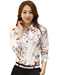 cheap -Women's Daily Plus Size Chic & Modern Spring Shirt,Floral Shirt Collar Long Sleeves Polyester Thin