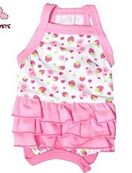abordables -Chat Chien Robe Vêtements pour Chien Fruit Blanc Rouge Rose Coton Costume Pour les animaux domestiques Femme Mignon Vacances Anniversaire
