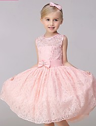 cheap -A-Line Knee Length Flower Girl Dress - Lace Sleeveless Jewel Neck with Bow(s) Sash / Ribbon by Lovelybees