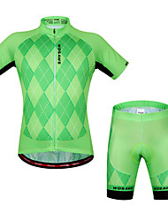 baratos -WOSAWE Manga Curta Camisa com Shorts para Ciclismo - Verde / preto Moto Shorts Camisa / Roupas Para Esporte Conjuntos de Roupas, Tapete