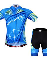 baratos -WOSAWE Manga Curta Camisa com Shorts para Ciclismo - Black / azul Moto Shorts Camisa/Roupas Para Esporte Conjuntos de Roupas, Secagem