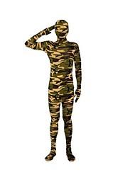 cheap -Zentai Suits Ninja Zentai Cosplay Costumes Green Striped Leotard/Onesie Zentai Spandex Lycra Unisex Halloween