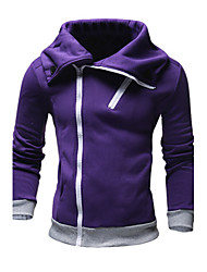 Men's Casual/Daily Simple Hoodie Jacket Solid Micro-elastic Polyester Long Sleeve Fall Winter