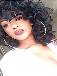 cheap -Synthetic Hair Wigs Curly African American Wig Natural Wigs Medium Black
