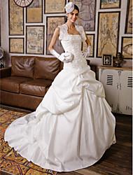 Ball Gown Strapless Chapel Train Lace Satin Wedding Dress with Appliques Pick-Up by LAN TING BRIDE®
