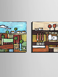 cheap -Mini Size E-HOME Oil painting Modern Small Village Pure Hand Draw Frameless Decorative Painting