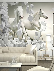 cheap -Contemporary 3D Shinny Leather Effect Large Mural Wallpaper White Horse Art Wall Decor