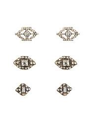 Fashion Women Vintage Stone Set Earrings Set(3 pairs on a card)