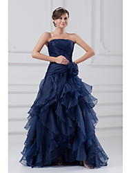 cheap -A-Line Strapless Sweep / Brush Train Organza Formal Evening Dress with Ruffles Side Draping by TS Couture®