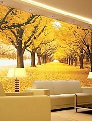 abordables -bosque amarillo efecto de cuero 3d shinny contemporánea mural grande del papel pintado de la pared del arte de la pared del sofá fondo tv