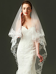cheap -One-tier Lace Applique Edge Wedding Veil Fingertip Veils With Embroidery Tulle