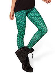 Women Print Solid Color Legging,Polyester Medium