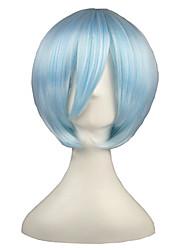 economico -Parrucche sintetiche Kinky liscia Capelli sintetici Blu Parrucca Per donna Corto Senza tappo