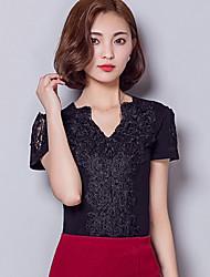 baratos -Mulheres Blusa - Para Noite Moda de Rua Renda, Sólido Decote V