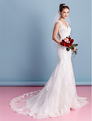cheap -Mermaid / Trumpet Sweetheart Neckline Court Train Lace Over Tulle Made-To-Measure Wedding Dresses with Appliques by LAN TING BRIDE® / See-Through