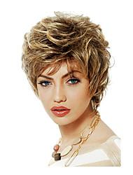 donne bob resistente breve ricci ondulati lanuginoso sintetici parrucche lato scoppio calore bionda